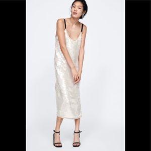 Zara champagne sequin midi evening dress